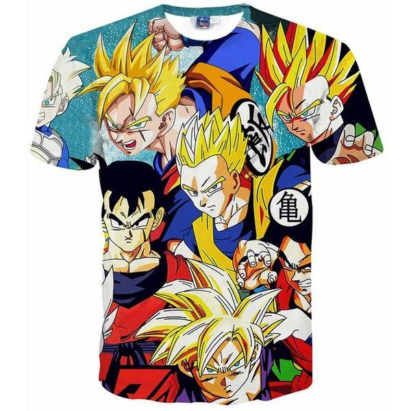 Camisetas 3D Dragon Ball Z Goku camiseta 3D Funny Anime Super Saiyan camisetas Hombres / mujeres Harajuku camisetas Casual camisetas tops