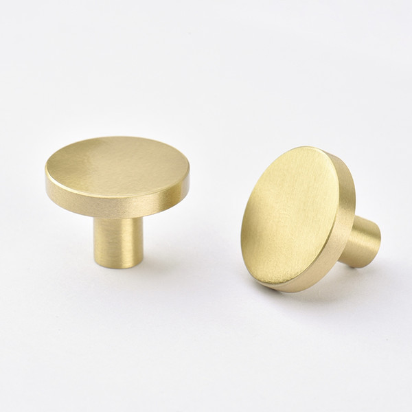 best selling Gold Kitchen Cabinet Knobs Solid Brass free shipping Furniture Drawer Handles Pulls Single Hole Dresser Knobs Cupboard Door Handle