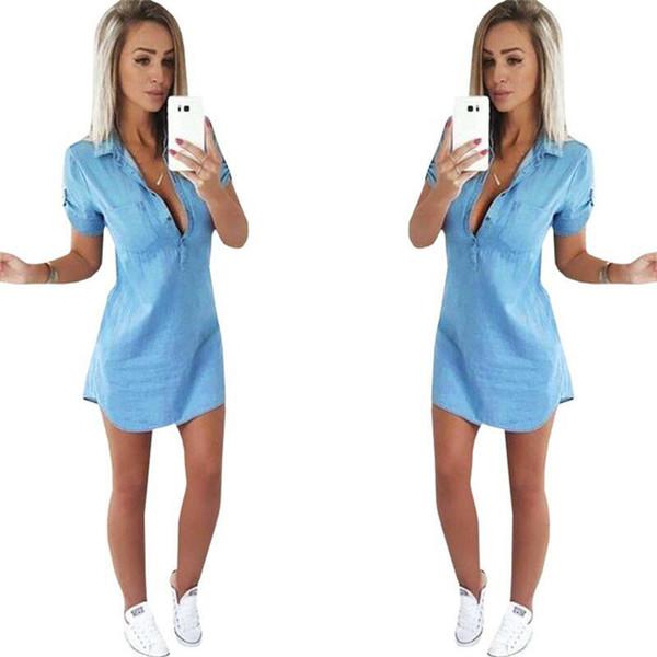 Women's summer fashion casual cowboy lapel short - sleeve pocket dress female mini denim dress KD-013