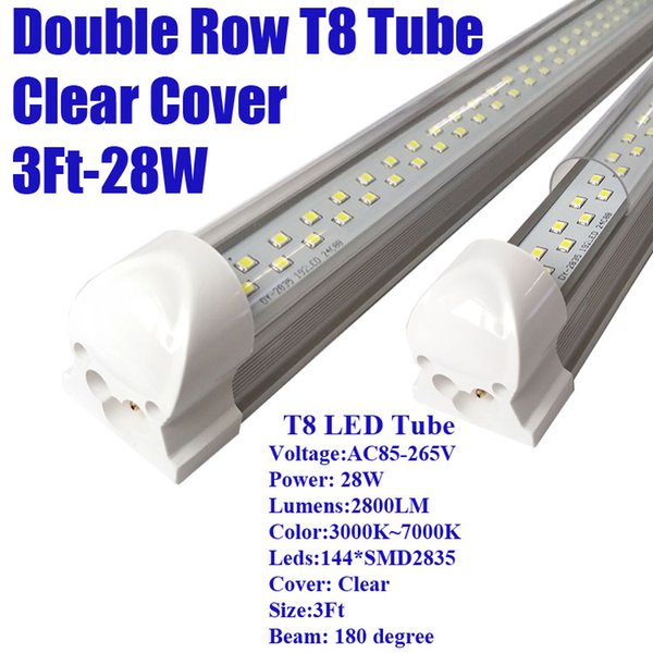 3Ft 28W Double Row Clear Cover