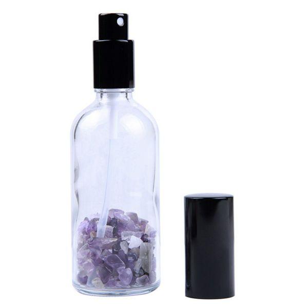 Chips de piedras preciosas naturales 100ml Botellas de vidrio transparente Spray Perfume recargable Atomizador Travel Portable Black Cap P234