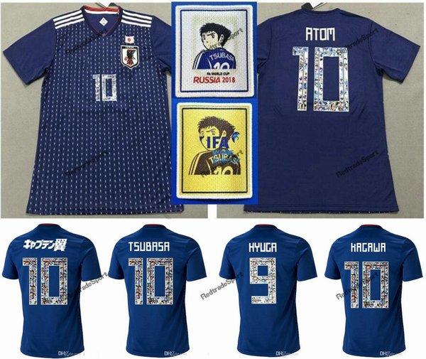 Dibujos animados Número 2018 Copa del mundo Japón Fútbol Jersey Capitán TSUBASA 10 OLIVER ATOM KAGAWA ENDO 9 HYUGA NAGATOMO KAMAMOTO Nombre personalizado