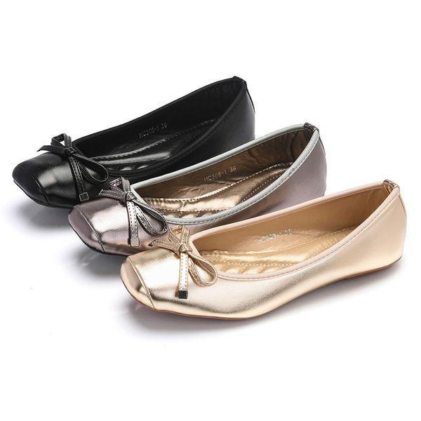 Moda Flats Kadın Ayakkabı Casual Kadınlar Flats Yumuşak Zarif Bayanlar Tekne Ayakkabı Slip-on Kadın Bale Siyah Altın Gri A1375