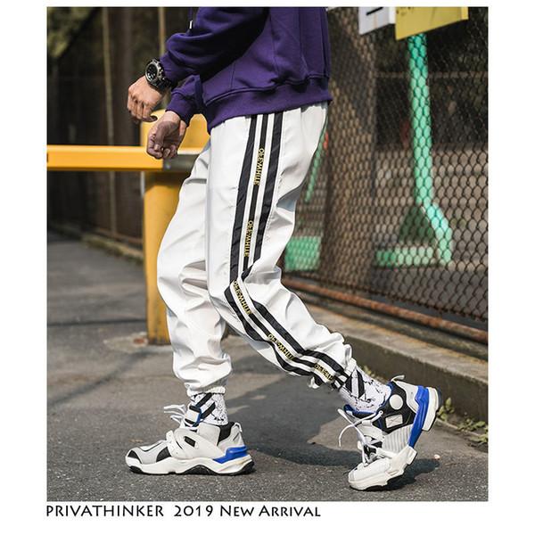 Privatinker Streetwear Corredores Calças Dos Homens Calças de Trilha 2019 Mens Hip Hop Moletom Masculino Estética Preto Coreano Moda Calças SH190705