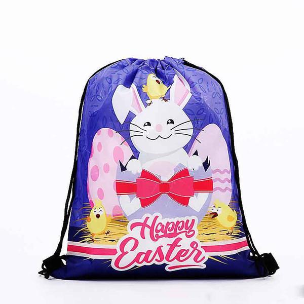 Polyester Fiber Easter Rabbit Backpack Egg Print Drawstring Gym Bag Cartoon Storage Daypack Violet ECO Friendly Hot Sale