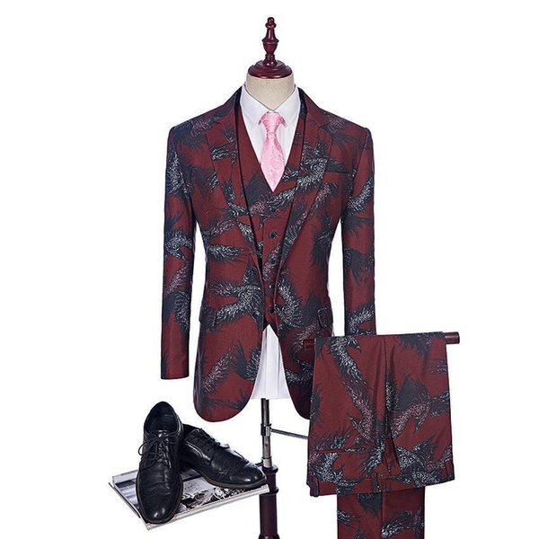 Fashion Red Print Suit Groom Tuxedos Stylish Groomsman Suit Custom Made Man Stage Wear Casual Men Stage Clothing 3PsCostume