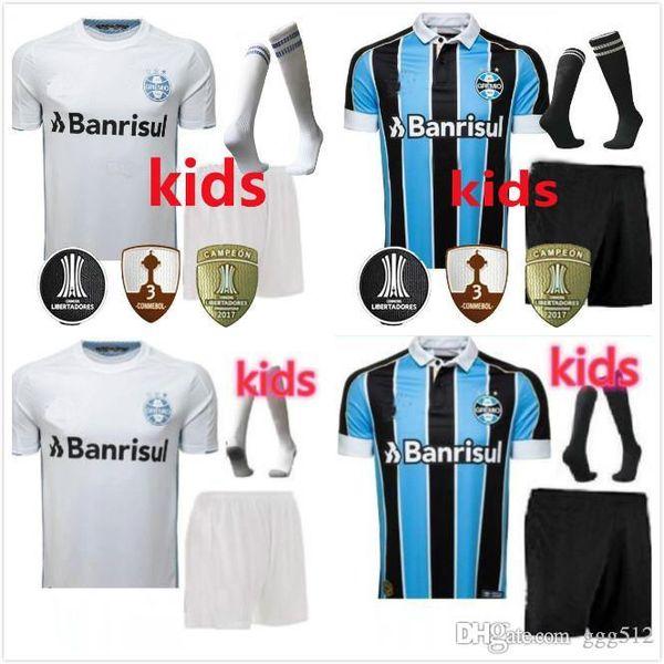 Kit de niños + calcetines Gremio 19 20 fútbol casero Jersey azul blanco ausente 2019 EDILSON Geromel KANNEMANN LUAN Ramiro EVERTON 2019 2020 FÚTBOL CAMISA