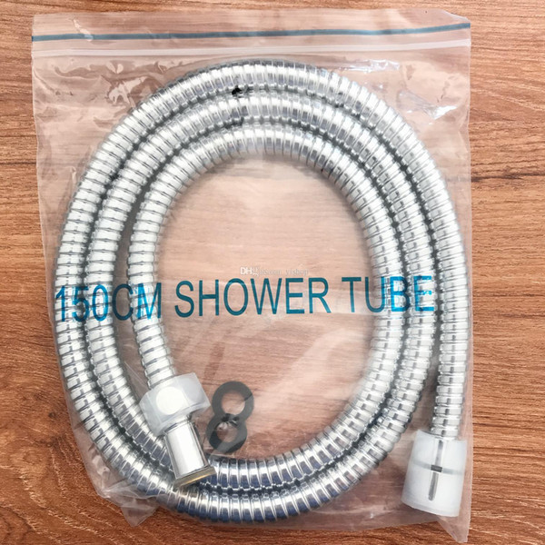 top popular High quality SUS304 stainless steel bath hose chrome plated hand shower water flexible pipe Bathroom tube hose double proof Explosion 1.5m 2019