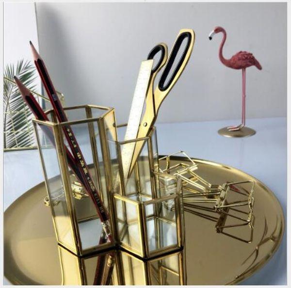 top popular Brass Glass Cosmetic Brush Barrel Hexagonal glass eyebrow penholder Glass flowerpot European-style retro desktop decoration 2021