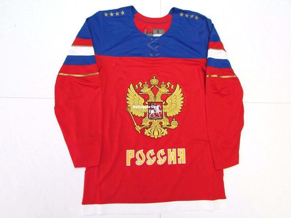 Ucuz Özel Üst RUSYA KıRMıZı NK 2014 SOCHI KIŞ OLYMPICS ERKEKLER BUZ HOKEYI JERSEY Erkek dikiş formaları