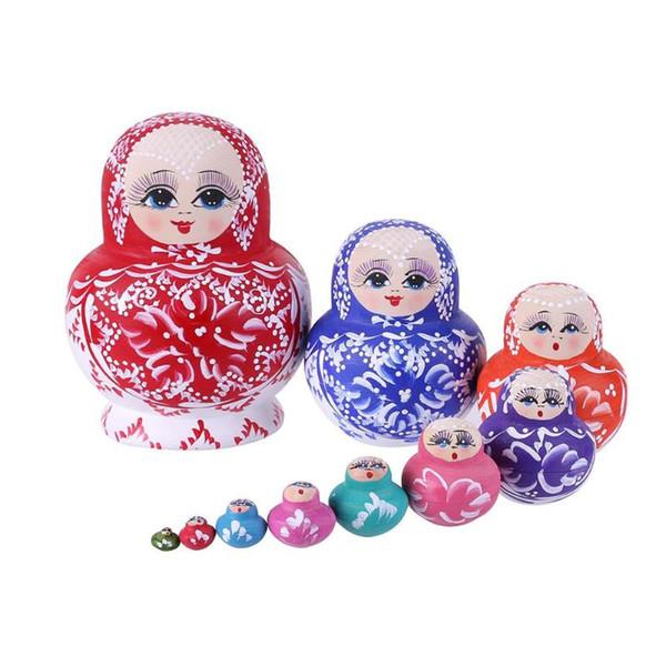 10pcs/Set Novelty Wood Russian Matryoshka Dolls Set Handmade Basswood Nesting Dolls Hand Painted Toy Decoration Ornament Gifts