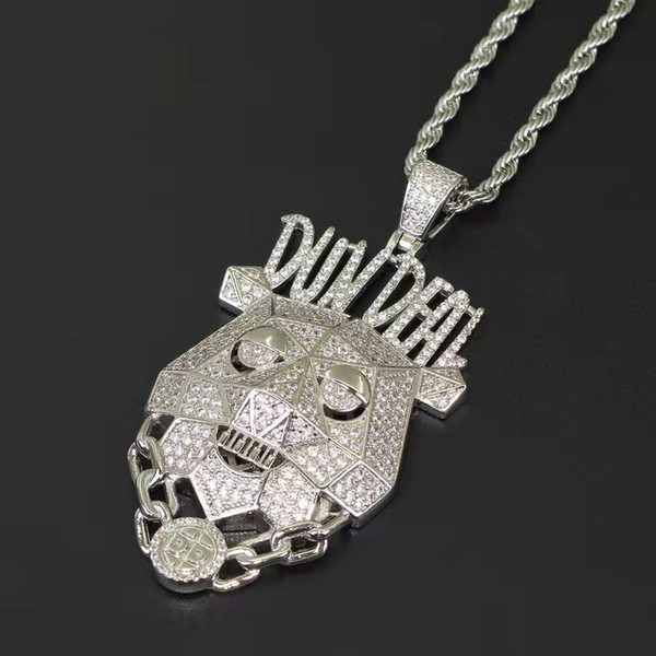 hip hop DUNDEAL chien pendentif colliers pour hommes femmes luxe lettre or argent Robot chien pendentifs 18k plaqué or cuivre zircons bijoux cadeau