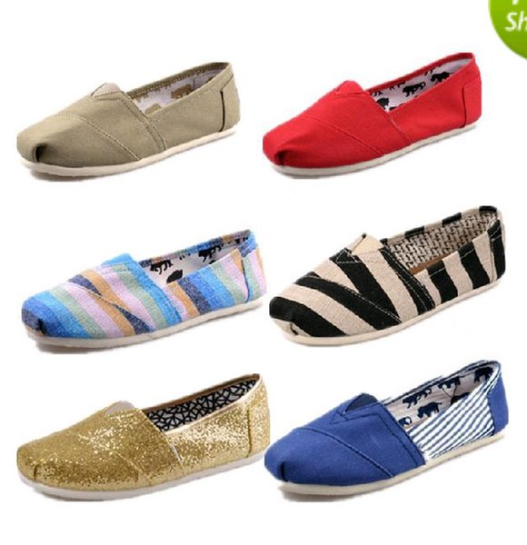 HOT shipping brand men's Women's casual solid canvas shoes, EVA flat pattern stripes lovers TOM Glitter shoes Classic canvas shoes