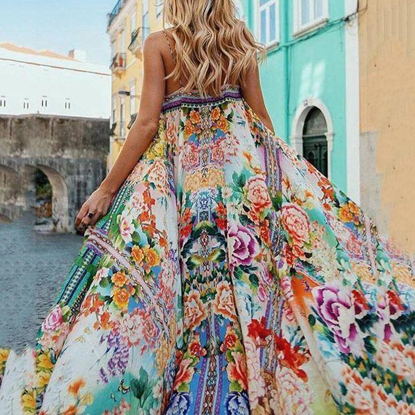 Женщины Богемное Платье Boho Летние Повседневные Пляжные Платья Плюс Размер Сексуальный Ремень Цветочный Принт Цветок Свободный Праздник Длинное Платье Макси T190608