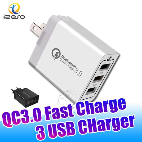 QC3.0 alta velocidade Carregador multi Porta 3 USB plug Adaptive Adaptador de carregamento rápido para Samsung Nota 10 S10 Além disso S10E A70 izeso