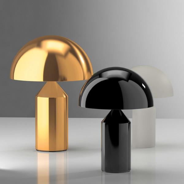 Modern creative electroplating golden mushroom design table lamp simple metal bedroom decoration bedside deck LED lighting lamp