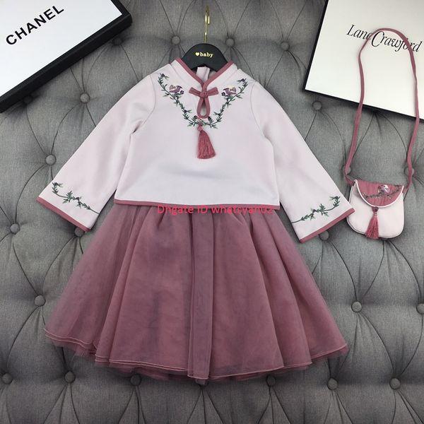 Meninas saia set crianças tops de roupas de grife + saia 2 pcs material de mistura de algodão outono estilo Chinês conjunto de bordados de flores