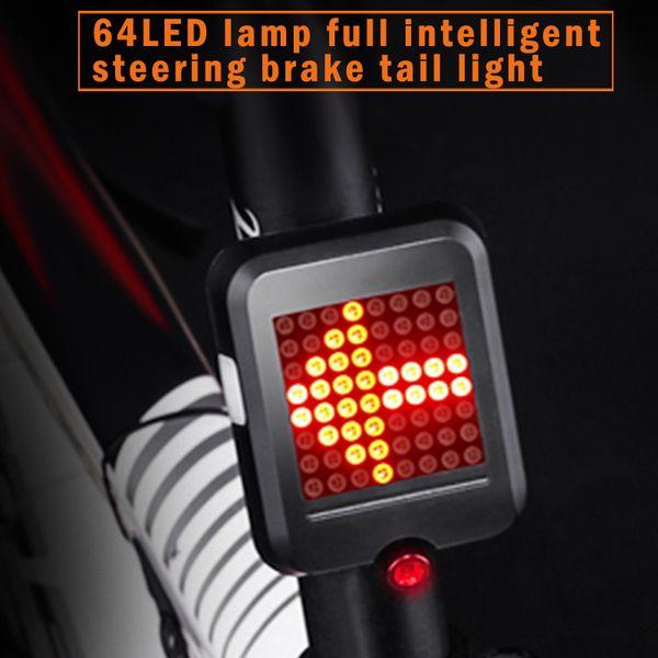 USB Şarj Edilebilir Bisiklet Kuyruk Işık 64 Led Bisiklet Akıllı Sensör Fren BHD2 ile Sinyal Işıkları Çevirin