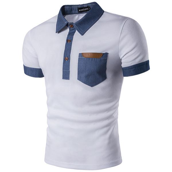 En gros 2018 nouvelle poche en été hommes taille euro denim matelassé revers t-shirt B31