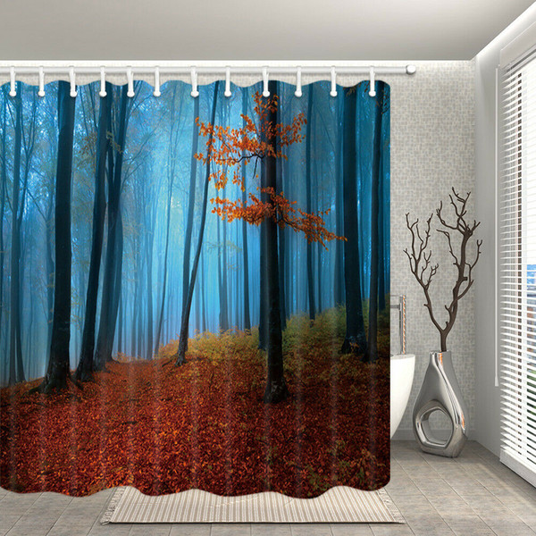 Nature Shower Curtain Red Forest with Bule Sky Decor for Bathroom Fabfic Curtain