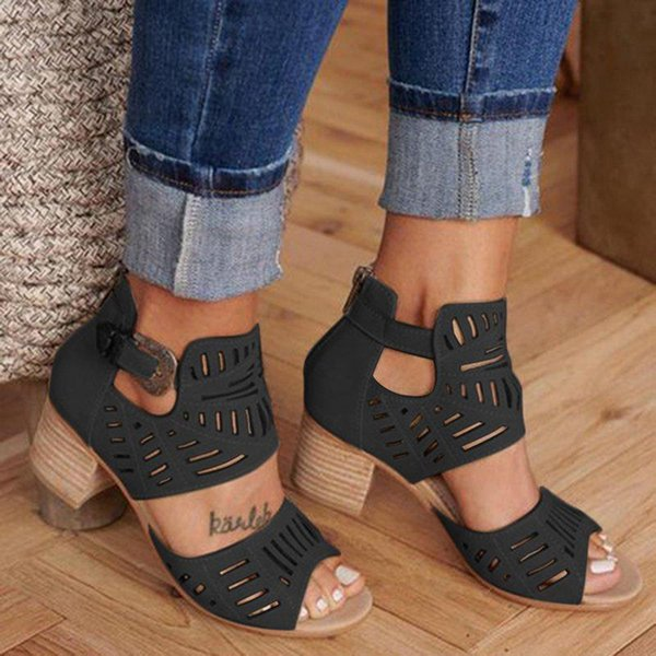 Vintage Hollow Out Sandals Mid Heel