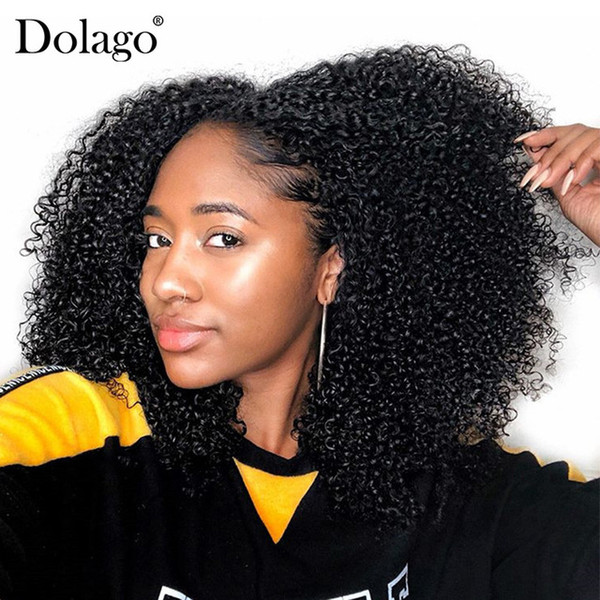 3B 3C Kinky Curly Clip In Human Hair Extensions Brazilian Clip-Ins Full Head 7 Pcs/Set 120G Remy Hair Dolago Nautral Color