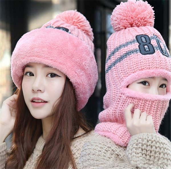 2 pezzi set inverno cappello lavorato a maglia sciarpa set per le donne vestito caldo ragazza cappelli di lana addensare design multicolore sciarpe cappello lavorato a maglia berretti crochet