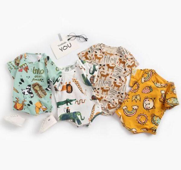 Bebek çocuk giysi tasarımcısı Romper Kısa Kollu Tam Hayvanlar Boyama Romper Giysileri% 100% pamuk kız tulum 0-2 T