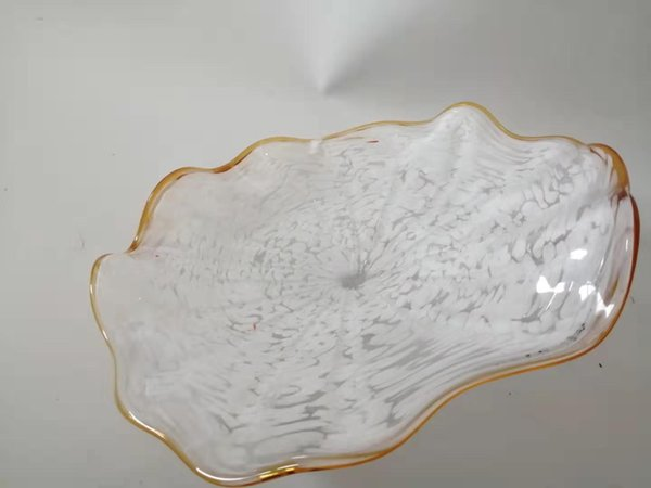 art white hand blown glass plates for wall deco design with art scalloped edges wall lamps tiffany style custom glass wall plates