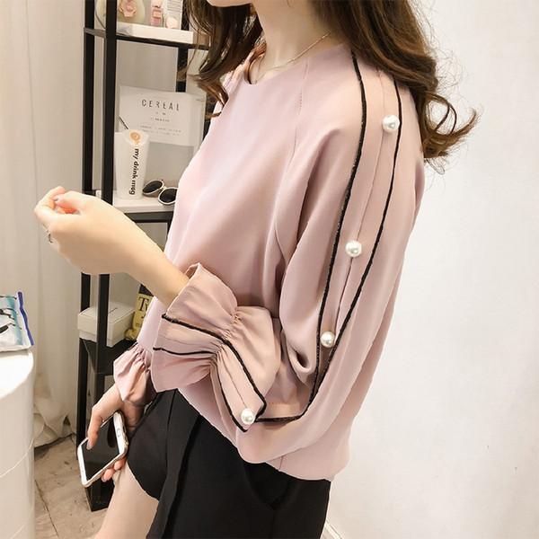 Camisa de gasa para mujer 2019 Nuevo otoño de lujo Nueva versión coreana de la camisa de gasa de trompeta femenina de gran tamaño Camisa de manga larga con cuentas