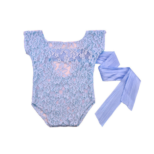 7 Colors New Borns Ribbon Bowknot backless Lace Romper Cute solid color sleeveless sheerness onesie infants photograph costume props