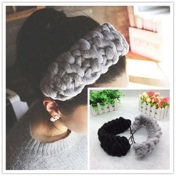 Autumn and winter new Korean fashion headdress thick needle wool wide side warm elastic band hair band headband