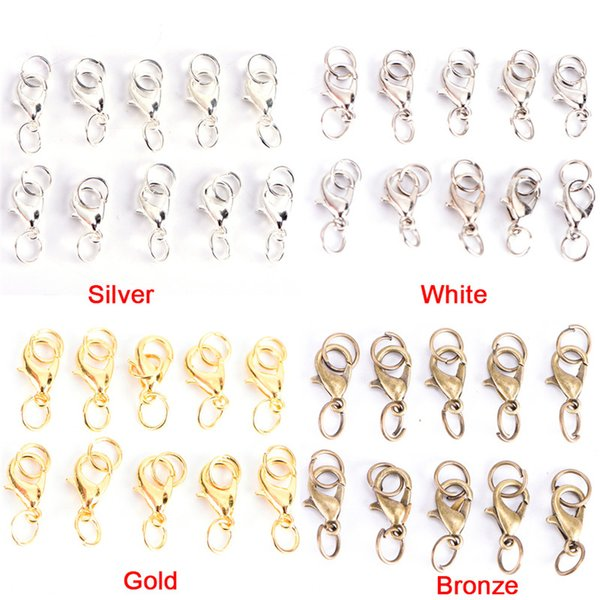 20Pcs Boho Style Lobster Claw Clasps Jump Rings Split Ring Making Hook Beads Crimp End Spring Necklace Snap Chains Connector Set