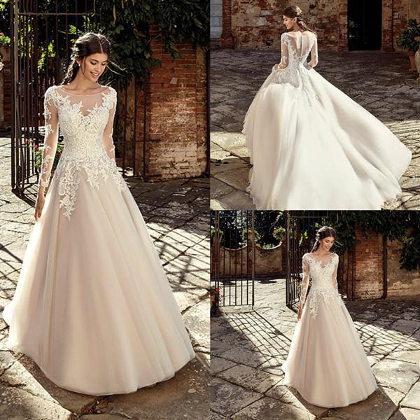 Discount 2020 Garden Wedding Dresses A Line Scoop Long Sleeve