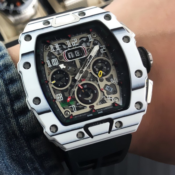 Luxury Watch 11-03 High Quality Mens Watches Automatic Mechanical Movement Crystal Glass Mirror Carbon Fiber Case Imported Rubber Strap A133