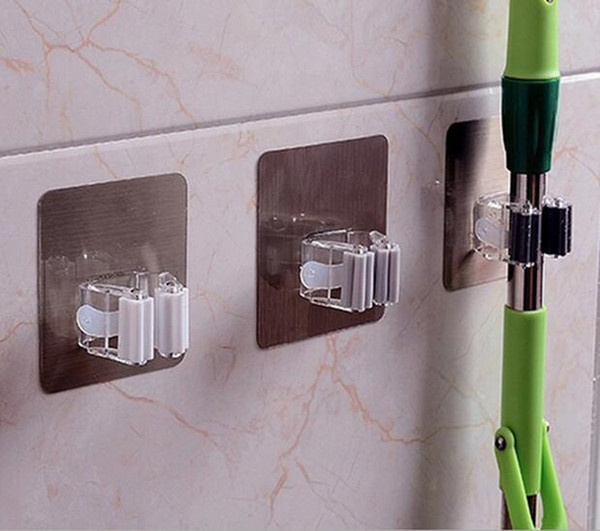 Creative Adhesive Traceless Mop Holder Rack Multifunctional Wall Mount Suction Hook Hanger Storage Kitchen Organizer