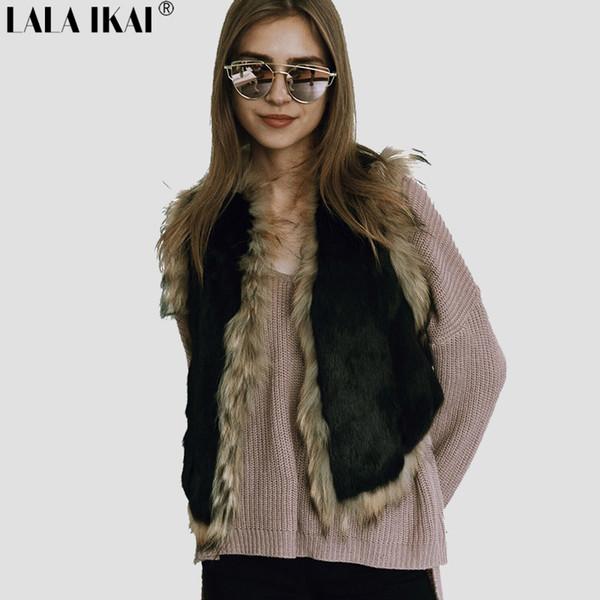 Winter Fashion Women Patchwork Faux Fur Vest Solid Colors Plus Size 3XL Black Femme Short Warm Fur Coats Outerwear SWQ0384-45