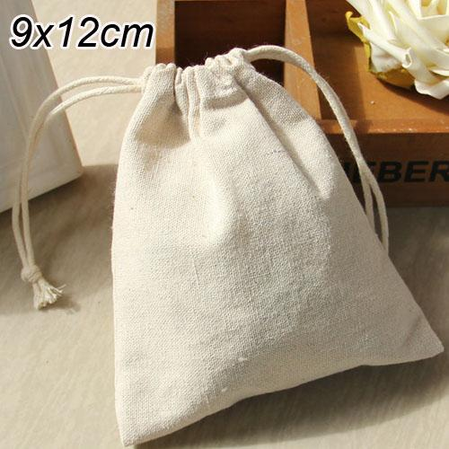 "Wholesale- Linen Gift Bags 9x12cm(3.5""x4.75"") Wedding Party Favor holders Christams Natural Muslin Cotton Pouches"