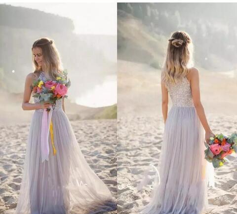Lilla Summer Beach Abiti da sposa Una linea Top Bling Bling paillettes Perline Zipper Back Abiti da sposa informale Country Garden tulle abito da sposa