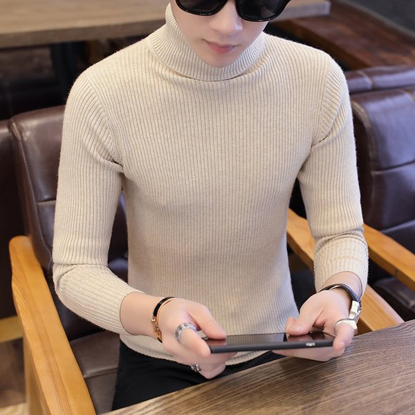 C1304-3 2018 new autumn winter high collar warm students young men casual long sleeve sweater cheap wholesale