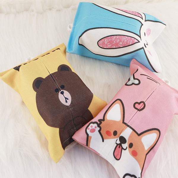 Creative Cotton and linen Paper Cover Bag Napkin Holder Cartoon Cute Tray Paper Box Restaurant Car Room Desk Bag ML8-A
