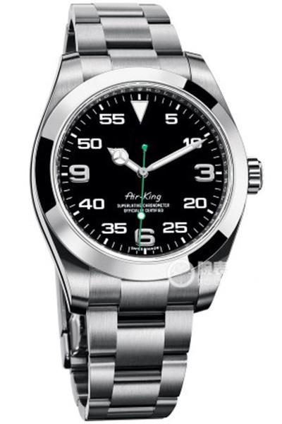 montre Top hommes de luxe rose bracelet or AIR KING Cadran noir pointeur vert miroir automatique movment en verre saphir montres hommes