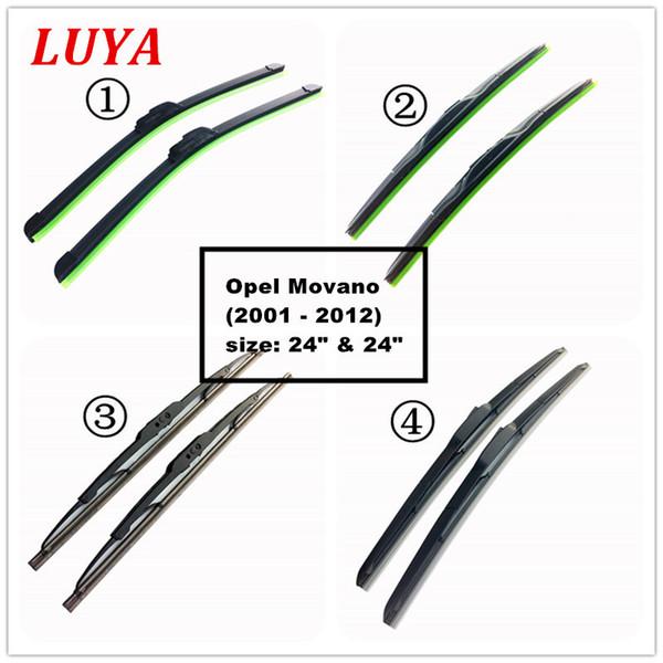 LUYA Quatro tipos de limpador de lâmina no limpador de pára-brisa de carro Para Opel Movano (2001 - 2012) tamanho: 24