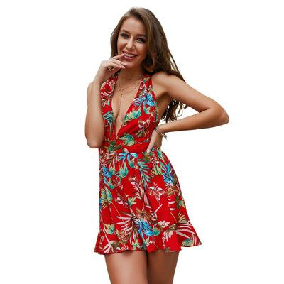 2019 Fashion New Summer Women's Palysuits,Sexy Deep V Neck Lady's Jumpsuits & Rompers,Nice Printed Bodysuits