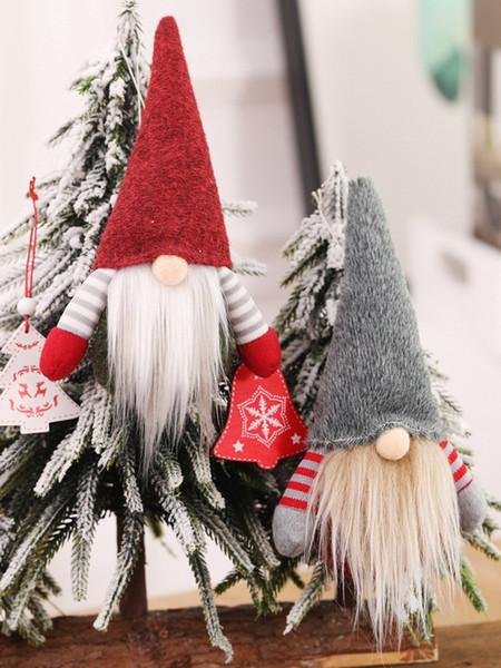 Noel El Yapımı İsveçli Gnome İskandinav Tomte Santa Nisse Nordic Peluş Elf Oyuncak Masa Süsleme Noel Ağacı Süsleri JK1910