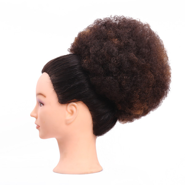 Clip In Chignon Hair Bun Piece High Temperature Fiber Ombre Curly Synthetic Afro Drawstring Ponytail Extensions