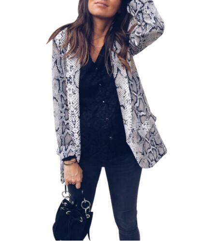 WangMinzeLeopard Snake Print Blazer Women Jacket Fashion Long Sleeve Blazers Coat Cardigan Elegant Office Ladies Tops Work Outwear Suits