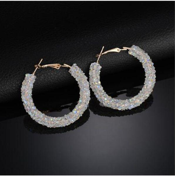 Charm Earrings Geometric Round Shiny Austrian Crystal Rhinestone Big Earring Fashion Jewelry Women New Design Hoop & Huggie