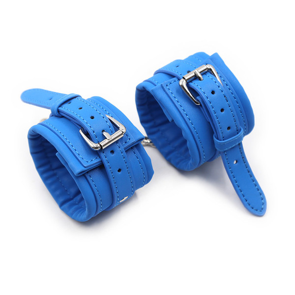 Newest Blue PU Leather Handcuffs,Sex Bondage Restraints Wrist Hand Cuffs Product,Adult Game Toys for Women&Men