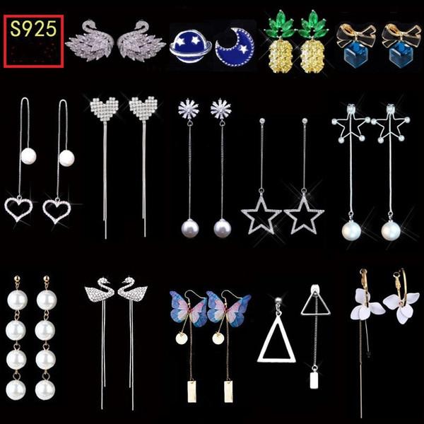 Corea 925 aguja de plata geométrica asimétrica pendientes largos de la borla Stud Pendientes hipoalergénico perla Stud pendientes joyería